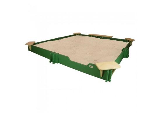 10 feet x 10 feet Sandbox, Cover, Seats, & Bench