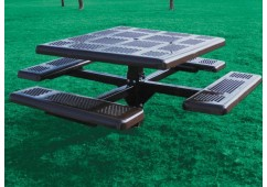 Perforated Single Pedestal Frame Square Picnic Table