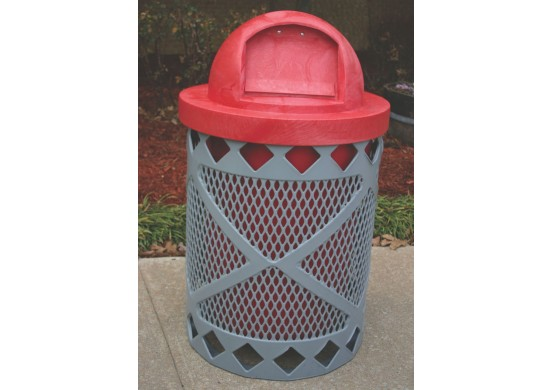 Avenue Expanded Steel Trash Receptacle