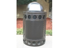 Avenue Perforated Steel Trash Receptacle