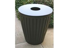 Taper Ribbed Steel Trash Receptacle