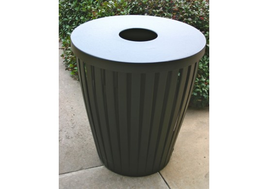 Taper Ribbed Steel Trash Receptacle