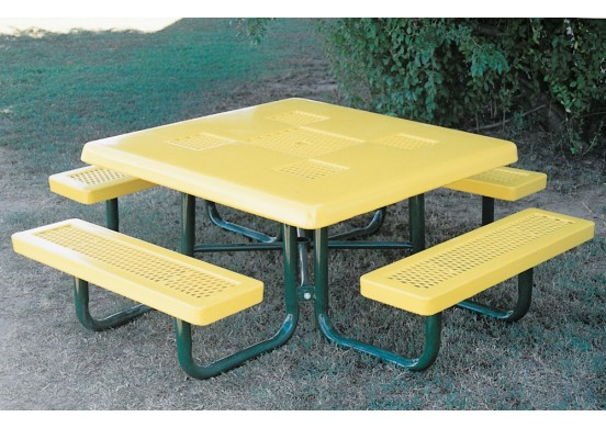 Regal Semi-Solid Top Portable Frame Square Picnic Table