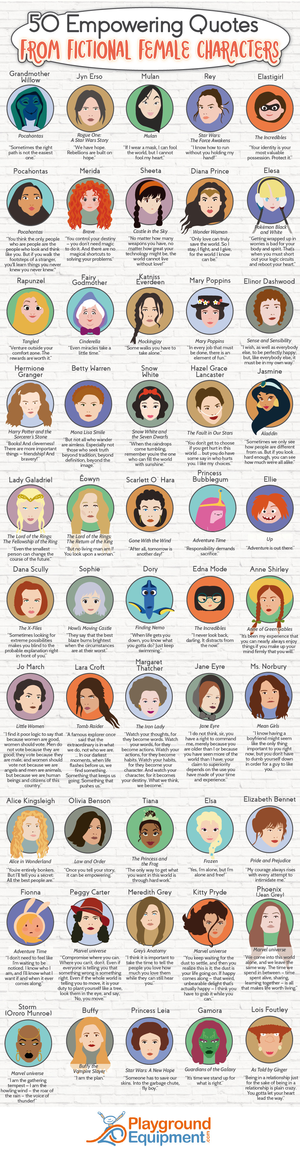 50 Empowering Quotes from Fictional Female Characters - PlaygroundEquipment.com - Infographic
