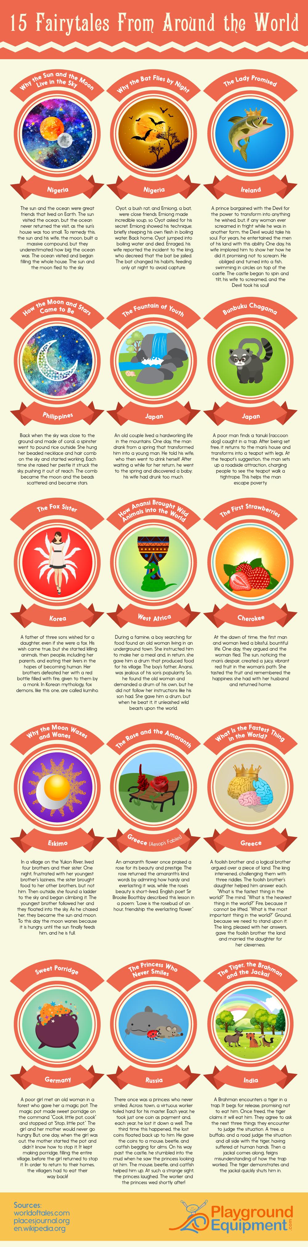 15 Fairytales From Around the World - PlaygroundEquipment.com - Infographic